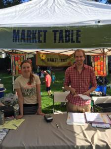 "Stop by the market table and say ""Hi""."